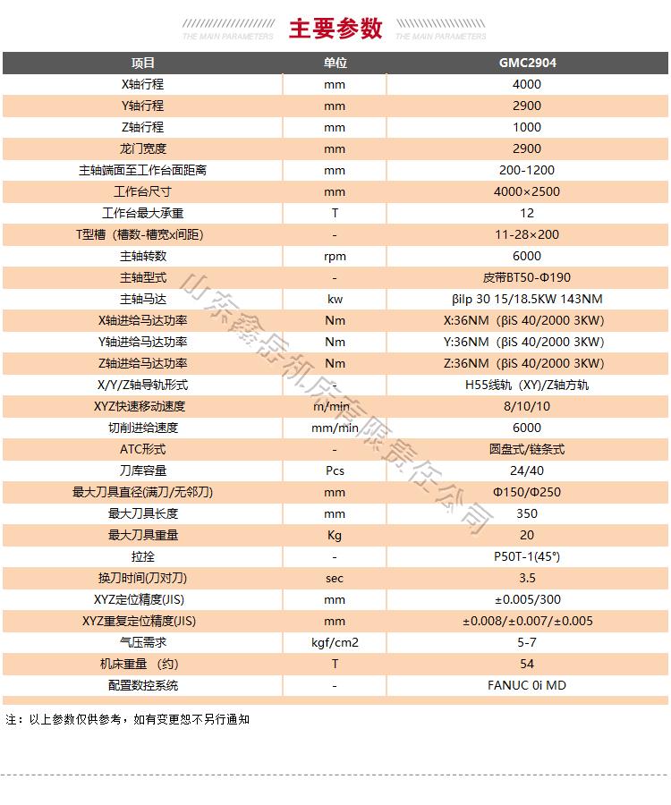 GMC2904龙门加工中心技术参数