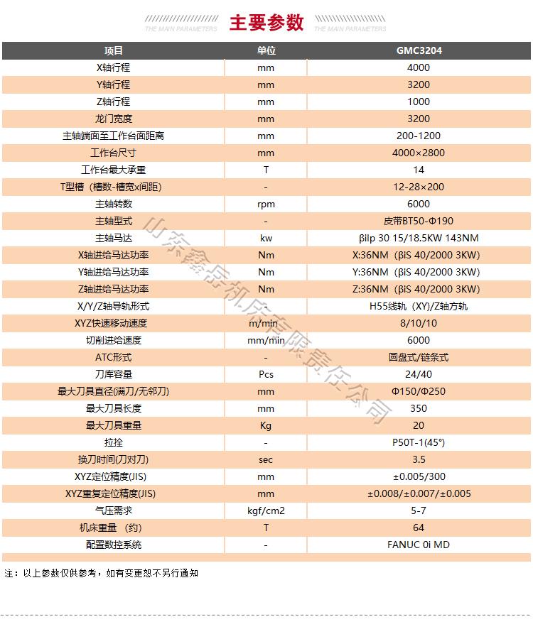 GMC3204龙门加工中心技术参数